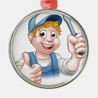 Electrician Handyman Cartoon Character Silver-Colored Round Ornament