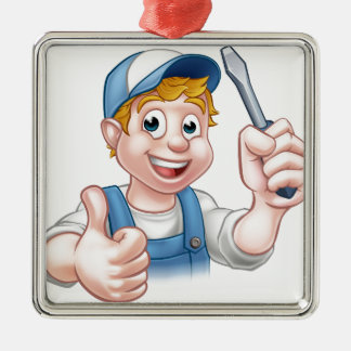 Electrician Handyman Cartoon Character Silver-Colored Square Ornament
