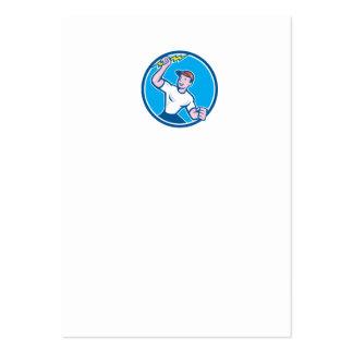 Electrician Holding Lightning Bolt Circle Cartoon Business Card