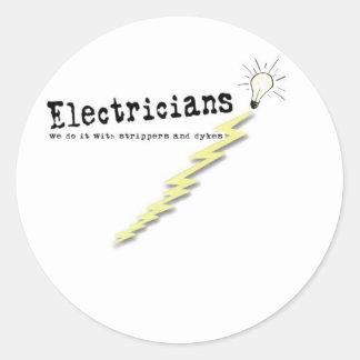 Electrician Humor Classic Round Sticker