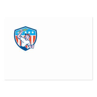 Electrician Lightning Bolt USA Flag Cartoon Business Cards
