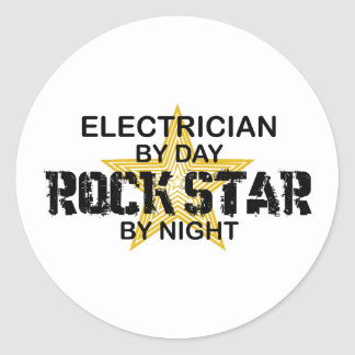 Electrician Rock Star by Night Classic Round Sticker