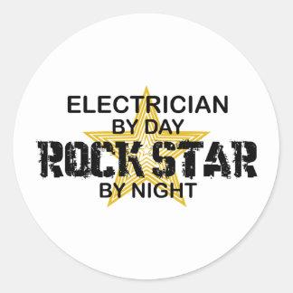 Electrician Rock Star by Night Round Sticker
