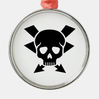 Electrician skull metal ornament