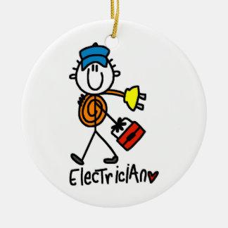 Electrician Stick Figure Round Ceramic Ornament