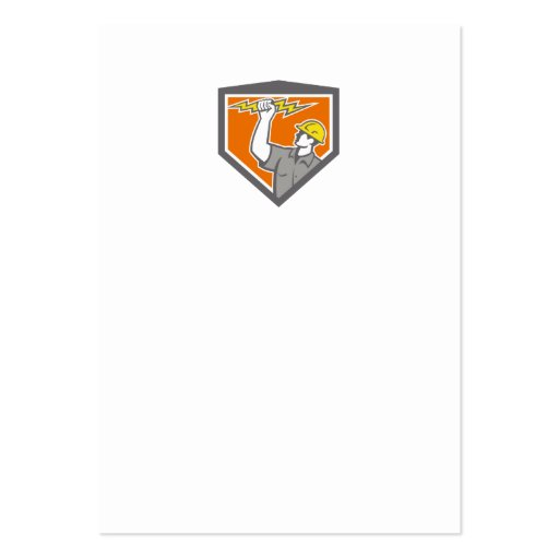 Electrician Wield Lightning Bolt Side Crest Business Card Templates