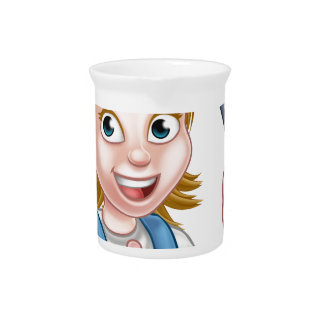 Electrician Woman Holding Screwdriver Beverage Pitcher