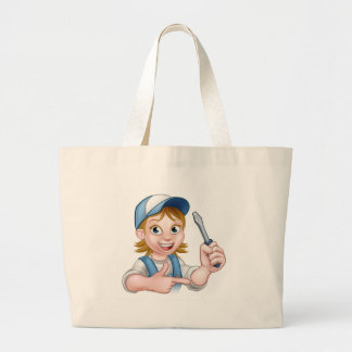 Electrician Woman Holding Screwdriver Large Tote Bag