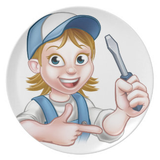 Electrician Woman Holding Screwdriver Party Plate