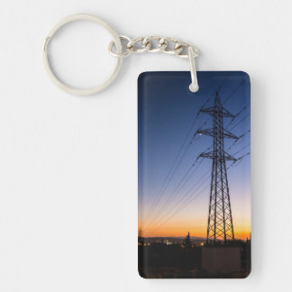 Electricity tower close to an urban area Double-Sided rectangular acrylic keychain