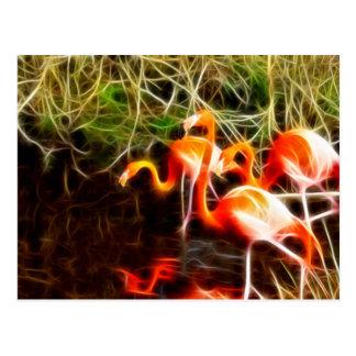 Electrified Flamingos Postcard