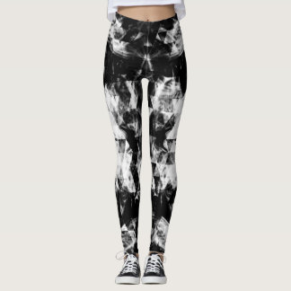 Electrifying black white sparkly triangle flames leggings