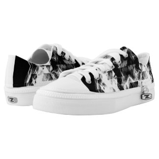 Electrifying black white sparkly triangle flames Low-Top sneakers