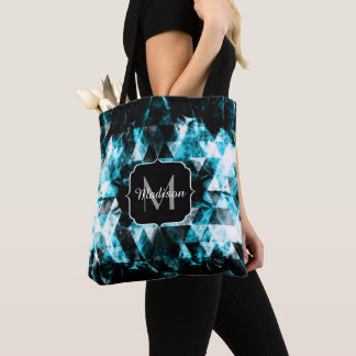 Electrifying blue sparkly triangle flames Monogram Tote Bag