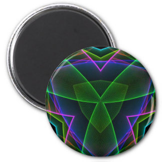 Electrifying Fluorescent Linear Abstract 2 Inch Round Magnet