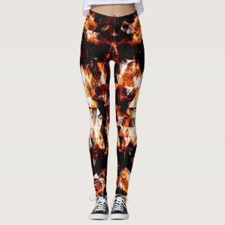 Electrifying orange sparkly triangle fire flames leggings