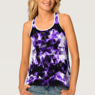 Electrifying purple sparkly triangle flames tank top