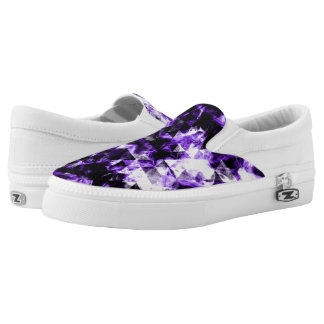 Electrifying ultra violet purple sparkly triangle Slip-On sneakers