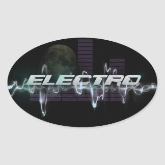 Electro Oval Stickers, Glossy Oval Sticker