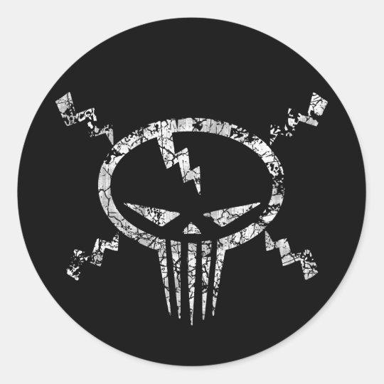 Electro Skull Classic Round Sticker