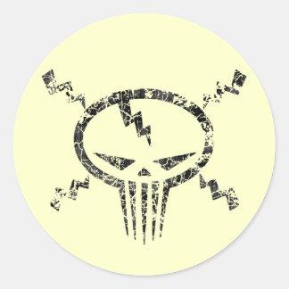 Electro Skull Round Sticker