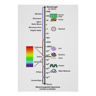 Electromagnetic Spectrum (Wavelengths Comparison) Poster