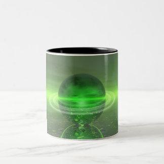 Electronic Green Saturn Two-Tone Coffee Mug