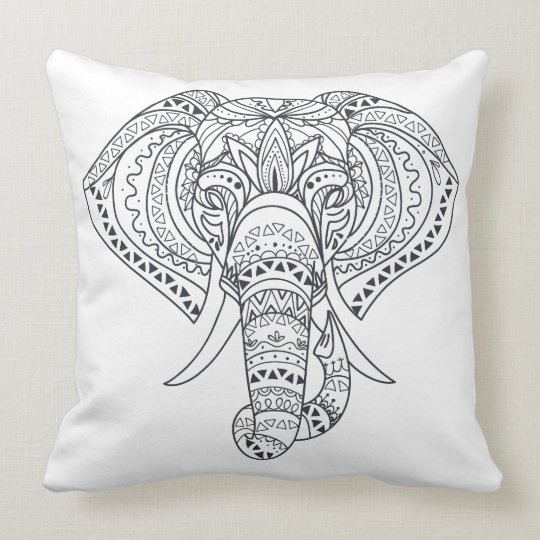Elefant Head Adult colouring Throw Pillow