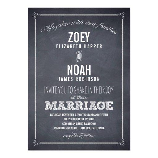 Élégamment marqué à la craie épousant des invitati cartons d'invitation personnalisés