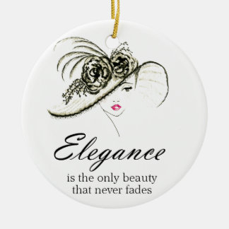 Elegance Fashion Quote Round Ceramic Ornament