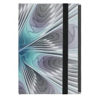 Elegance, Modern Blue Gray White Fractal Flower Cover For iPad Mini