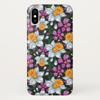 Elegance pattern with narcissus flowers 2 iPhone x case