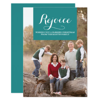 Elegance Squared Holiday Photo Card | Teal