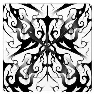 Elegance Tribal Tattoo Digital Collage Square Wall Clock