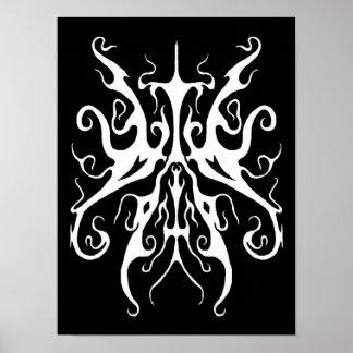 Elegance Tribal Tattoo - white on black Poster
