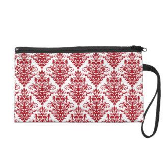 Elegand dark red vintage damask pattern wristlet clutch