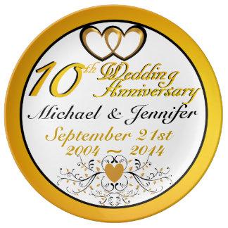 Elegant 10th Anniversary Porcelain Plate