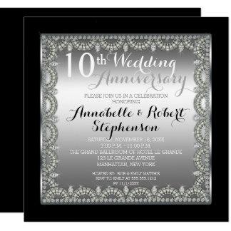 Elegant 10th Silver and Diamonds Anniversary Card
