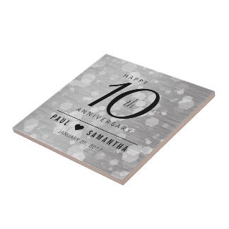 Elegant 10th Tin Wedding Anniversary Celebration Tile