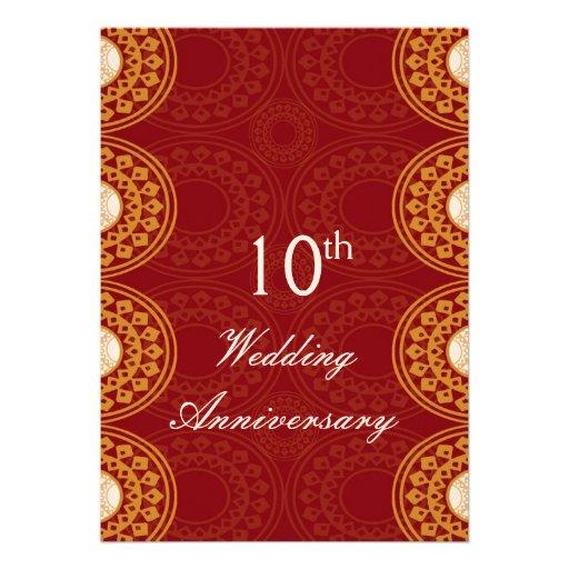Elegant 10th Wedding Anniversary Invitations