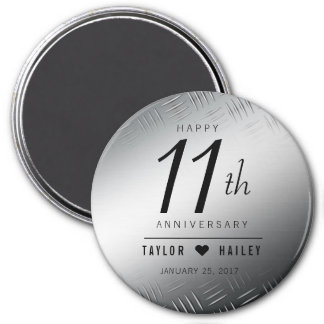Elegant 11th Steel Wedding Anniversary Celebration Magnet