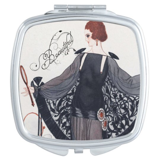 Elegant 1920's Art Deco Lady - Compact Mirror