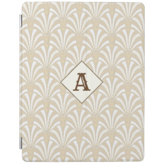 Elegant 1920s Art Deco White & Taupe Palmettos iPad Cover