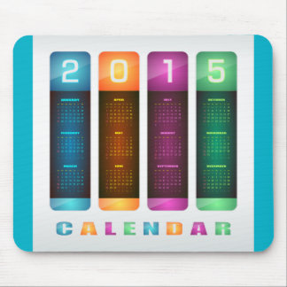 Elegant 2015 Colorful Calendar Mousepad