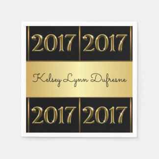 Elegant 2017 Personalized Graduation Paper Napkins