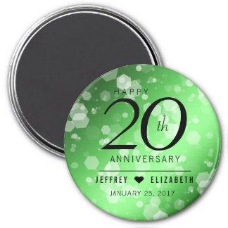Elegant 20th Emerald Wedding Anniversary Magnet