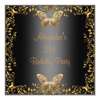 "Elegant 21st Birthday Black Gold Butterfly 5.25"" Square Invitation Card"
