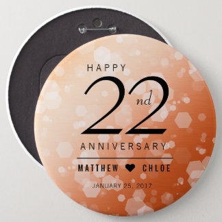 Elegant 22nd Copper Wedding Anniversary 6 Inch Round Button