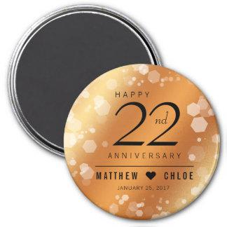 Elegant 22nd Copper Wedding Anniversary Magnet