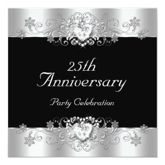 """Elegant 25th Anniversary Black Silver White 5.25"""" Square Invitation Card"""